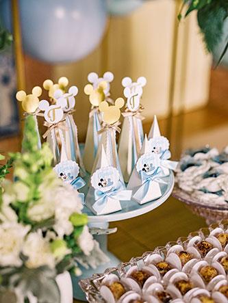 Mickey Baby elegante - Batizado Lima Limão Festas